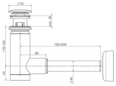 Сифон для раковины PREVEX EasyClean 40 мм клик-клак с переливом металл черный (1512419)