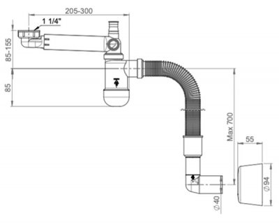 "Сифон для раковины PREVEX Preloc c накидной гайкой 5/4"" со сливной гофрой 32х885 мм (PR3-N4NF3-004)"
