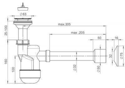 Сифон для раковины PREVEX Ventloc с сухим затвором 32/50 мм (3015001)