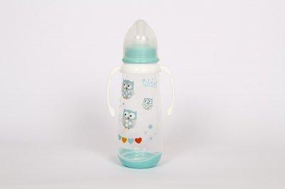 Пляшечка дитяча з ручками 250мл з силіконовою соскою від 3 міс Lindo зелений LI 125