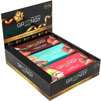 Упаковка батончиков Greengy Ассорти подарочных 40 г х 12 шт (4820221320611)
