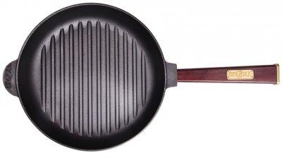 Сковорода-гриль Brizoll Optima-bordo чавунна з ручкою 240х40 мм (559-300)