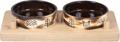 Миски керамічні Природа Етно 2x200 мл на дерев'яній підставці (4823082418671)