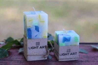 Комалект мармурових свічок ручної роботи для інтер'єру LightArt Різнобарвний (CAN250)