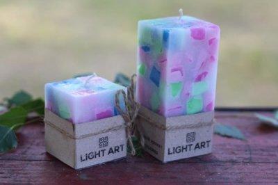 Комалект мармурових свічок ручної роботи для інтер'єру LightArt Різнобарвний (CAN249)