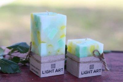 Комалект мармурових свічок ручної роботи для інтер'єру LightArt Різнобарвний (CAN251)