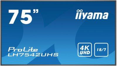 """МонІтор Iiyama Lh7542Uhs-B1 189.2 Cm (74.5"""") Led 3840 X 2160 Pixels 500 Cd/M² 4K Ultra Hd 16:9"""