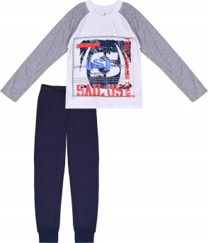 Пижама (футболка с длинными рукавами + штаны) Фламинго 235-110 Серая с синим