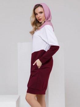 Платье ISSA PLUS SA-27 Сиреневое с бордовым
