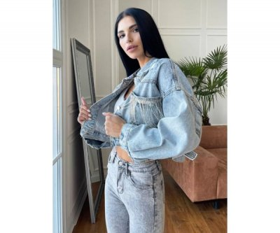 Джинсовка жіноча з бахромою на кишенях Modern Boutique блакитний, ДЖ10279