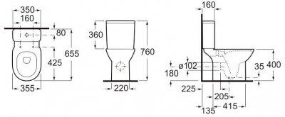 Унітаз-компакт ROCA Debba Rimless A34D99P000 з бачком і сидінням Slim Soft Close дюропласт