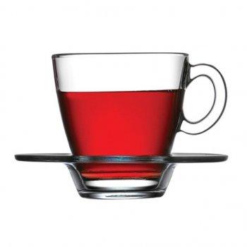 Набор чашек с блюдцами 215 мл на 12 предметов Aqua Pasabahce 95040