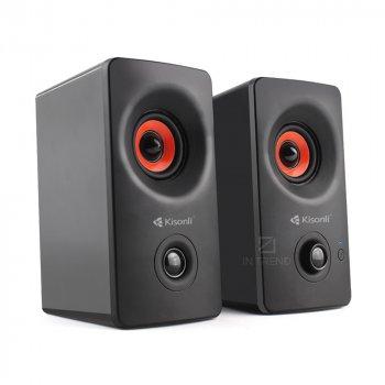 Колонки для ПК и ноутбука Kisonli AC-9002BT компактные громкие и мощные для компьютера ноутбука телефона смартфона 2х3 Вт – акустическая система + качественный звук - Черный