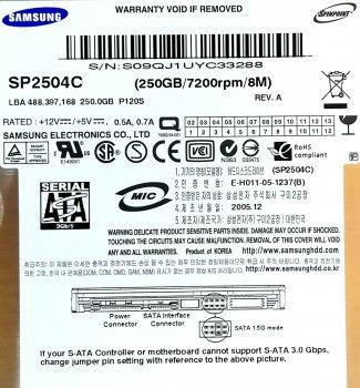 "Жорсткий диск для комп'ютера Samsung SpinPoint 250GB 3.5"" 8MB 7200rpm 3Gb/s (SP2504C) SATAII Б/У"