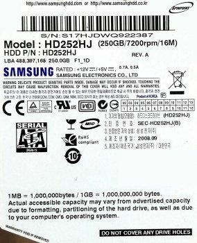 "Жорсткий диск для комп'ютера Samsung SpinPoint 250GB 3.5"" 16MB 7200rpm 3Gb/s (HD252HJ) SATAII Б/У"