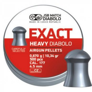 Кулі пневматичні JSB Diabolo Exact Heavy. Кал. 4.52 мм. Вага - 0.67 р. 500 шт/уп (1453.05.23)