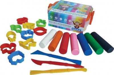 Набор пластилина Nara Стандартные цвета 7 цветов + инструменты для лепки 380 г (PX-380-7+10SMT)