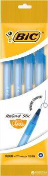 Набор шариковых ручек 4 шт BIC Round Stic M Синий пишущий узел 1мм, толщина линии письма 0.4 мм Синий корпус (3086123466128)