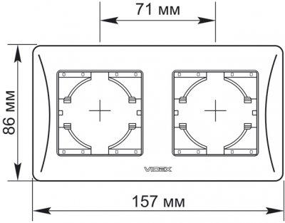 Рамка VIDEX Binera на 2 пости горизонтальна Чорний графіт (VF-BNFR2H-BG)