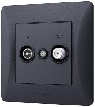 Розетка телевізійна та супутникова VIDEX Binera кінцева Чорний графіт (VF-BNSK2TVSATE-BG)