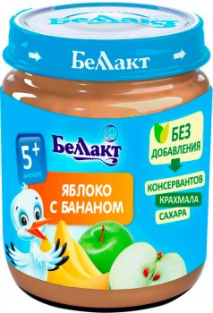 Упаковка фруктового пюре Беллакт з яблук і бананів 12 банок по 100 г (4814716000232_12)