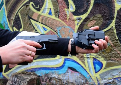 Страйкбольный пистолет Глок 17 (Glock 17) Galaxy G15+ с кобурой