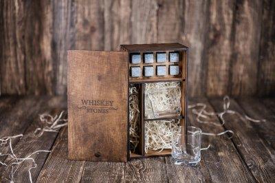 Камни для виски из стеатита Whiskey stones Original в подарочном пенале 8 шт. + 2 бокала + щипцы с инструкцией