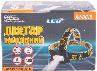 Фонарь налобный с регулировкой наклона Mastertool 3 режима, 75 х 46 х 29 мм, COB LED, 3 x AAA, ABS (94-0810)
