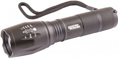 Ліхтарик з регулюванням фокусу Mastertool 5 режимів, 130 х 38 х 28 мм, CREE XM-L T6 LED, 3 x AAA / 1 x 18650, AL (94-0819)