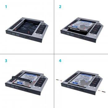"""Адаптер Grand-X для підключення HDD 2.5"""" у відсік приводу ноутбука SATA/SATA3 Slim 9.5 мм (HDC-24)"""