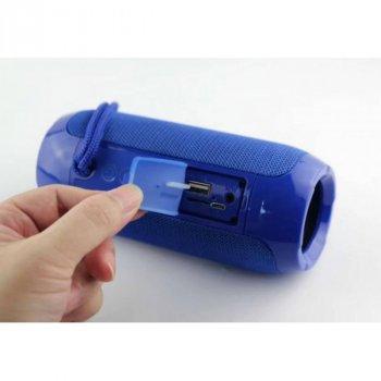 Портативна Bluetooth колонка T&G 117, вологостійка c функцією гучний зв'язок, FM радіо, синя