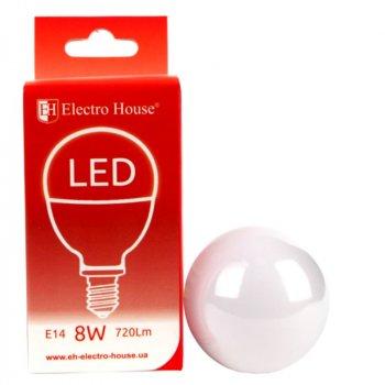 "LED лампа ElectroHouse ""шар"" E14/4100K/8W 720Lm /180° P45"