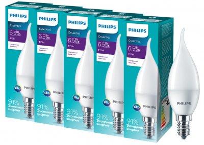 Светодиодная лампа Philips ESSLEDCandle 6.5 E14 840 BA35NDFRRCA (929001905807R) 5 шт