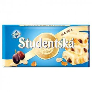 Белый шоколад с арахисом, изюмом Studentska pacet 180г (00-00000058)