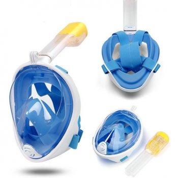 Маска детская для плавания дайвинга ныряния снорклинга полнолицевая панорамная с трубкой FREE BREATH Original Blue XS с креплением для камеры Голубая