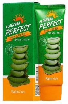 Солнцезащитный крем с алое вера FarmStay Aloevera Perfect Sun Cream SPF 50+ PA+++ 70 мл (8809297386758)