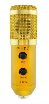Студійний мікрофон Music D. J. M800U зі стійкою і вітрозахистом Gold