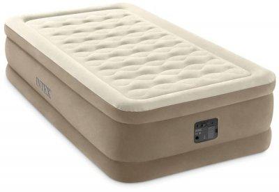 Надувне ліжко Intex 64426 (127х193х24 см) односпальне вбудований насос Бежева