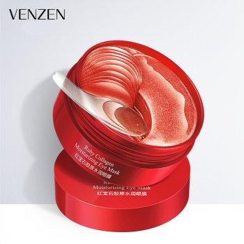 Гідрогелеві патчі під очі VENZEN Ruby Collagen Moisturizing Eye Mask з колагеном, алантоїн і екстрактом червоних морських водоростей Карагенан 60 шт