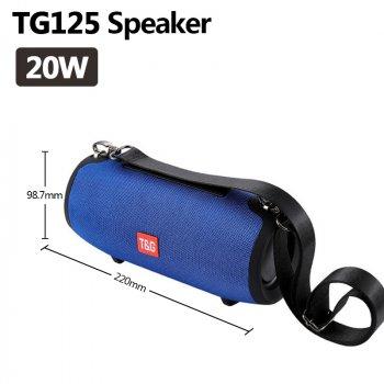 Портативна bluetooth колонка TG-125 бездротова на 2 динаміка Синя (з радіо, приймає флешки)