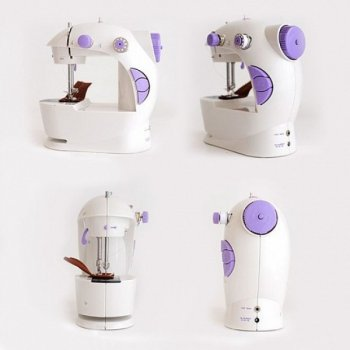 Домашня бездротова портативна легка швейна машинка Sewing machine Побутова електрична міні-машинка для шиття з підсвічуванням від мережі і педаллю