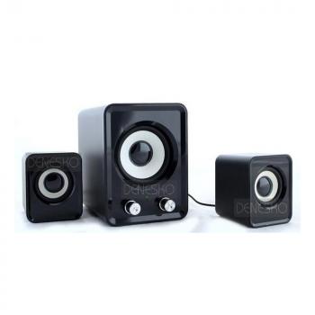Компьютерные громкие комбинированные USB колонки для ПК, ноутбука, смартфона с акустической системой Hiraliy H1 Mini Speaker Стерео звук, Бас Чёрные с сабвуфером