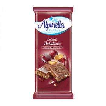 Шоколад Alpinella Молочный с орехом и изюмом 90г (00-00000033)