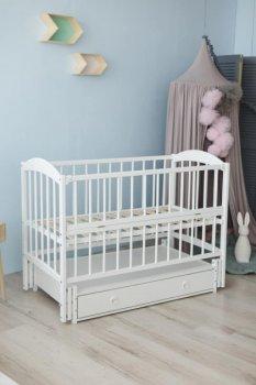 Дитяче ліжко-колиска Лілія Кузя, з шухлядою та відкидною боковинкою біле 101.1