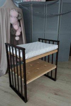 Ліжко дитяче трансформер кругле-овальне 8 в 1 Кузя з маятниковим ходом, колесами, матрасом венге 111.1
