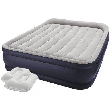 Ліжко надувний двомісна Intex 64136-3 з електронасосом, наматрацником і подушками 152x203x42 см (Ibk-64136-3)
