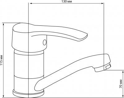 Змішувач кухонний GF (CRM)/S-03-002M