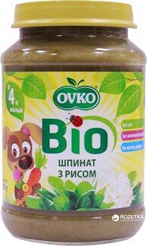Упаковка овочевого органічного пюре OVKO Шпинат з рисом з 4 місяців 190 г x 6 шт. (8586015172670)