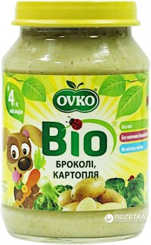 Упаковка овочевого органічного пюре OVKO Броколі з картоплею з 4 місяців 190 г x 6 шт. (8586015172687)