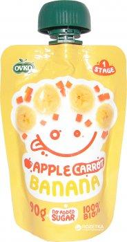 Упаковка фруктово-овочевого органічного пюре OVKO Яблуко, морква та банан з 6 місяців 90 г x 12 шт. (8586019160307)